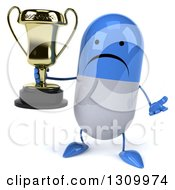 Clipart Of A 3d Unhappy Blue And White Pill Character Shrugging And Holding A Trophy Royalty Free Illustration