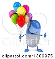Clipart Of A 3d Happy Blue And White Pill Character Holding A Thumb Up And Party Balloons Royalty Free Illustration