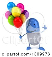 Clipart Of A 3d Happy Blue And White Pill Character Holding Up A Finger And Party Balloons Royalty Free Illustration