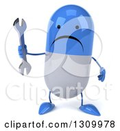Clipart Of A 3d Unhappy Blue And White Pill Character Holding A Wrench Royalty Free Illustration