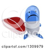 Clipart Of A 3d Unhappy Blue And White Pill Character Holding Up A Beef Steak Royalty Free Illustration