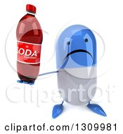 Clipart Of A 3d Unhappy Blue And White Pill Character Holding Up A Soda Bottle Royalty Free Illustration