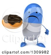 Clipart Of A 3d Unhappy Blue And White Pill Character Holding A Chocolate Frosted Donut Royalty Free Illustration