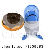 Clipart Of A 3d Unhappy Blue And White Pill Character Holding Up A Chocolate Frosted Donut Royalty Free Illustration
