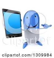 Clipart Of A 3d Happy Blue And White Pill Character Holding Up A Smart Phone And Gesturing Call Me Royalty Free Illustration
