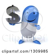 Clipart Of A 3d Happy Blue And White Pill Character Holding And Pointing To A Dollar Symbol Royalty Free Illustration