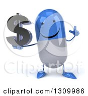 Clipart Of A 3d Happy Blue And White Pill Character Holding Up A Finger And A Dollar Symbol Royalty Free Illustration