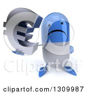 Clipart Of A 3d Unhappy Blue And White Pill Character Holding Up A Euro Symbol Royalty Free Illustration