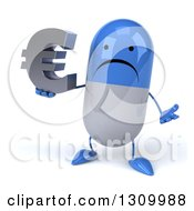 Clipart Of A 3d Unhappy Blue And White Pill Character Shrugging And Holding A Euro Symbol Royalty Free Illustration
