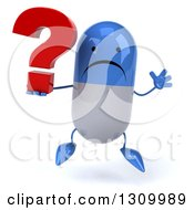 Clipart Of A 3d Unhappy Blue And White Pill Character Jumping And Holding A Question Mark Royalty Free Illustration
