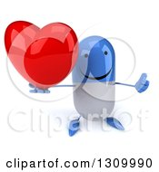 Clipart Of A 3d Happy Blue And White Pill Character Holding Up A Heart And Thumb Royalty Free Illustration