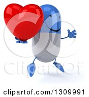 Clipart Of A 3d Happy Blue And White Pill Character Facing Right Jumping And Holding A Heart And Thumb Royalty Free Illustration
