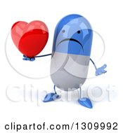 Clipart Of A 3d Unhappy Blue And White Pill Character Shrugging And Holding A Heart And Thumb Royalty Free Illustration