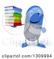 Clipart Of A 3d Happy Blue And White Pill Character Holding And Pointing To A Stack Of Books Royalty Free Illustration