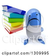 Clipart Of A 3d Unhappy Blue And White Pill Character Holding Up A Stack Of Books Royalty Free Illustration