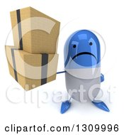 Clipart Of A 3d Unhappy Blue And White Pill Character Holding Up Boxes Royalty Free Illustration