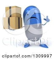 Clipart Of A 3d Unhappy Blue And White Pill Character Holding Up A Finger And Boxes Royalty Free Illustration