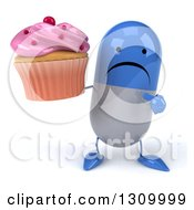 Clipart Of A 3d Unhappy Blue And White Pill Character Holding And Pointing To A Pink Frosted Cupcake Royalty Free Illustration