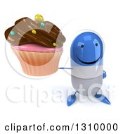 Clipart Of A 3d Happy Blue And White Pill Character Holding Up A Chocolate Frosted Cupcake Royalty Free Illustration