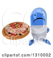Clipart Of A 3d Unhappy Blue And White Pill Character Holding Up A Pizza Royalty Free Illustration