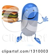 Clipart Of A 3d Happy Blue And White Pill Character Jumping And Holding A Double Cheeseburger Royalty Free Illustration