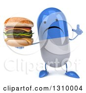 Clipart Of A 3d Unhappy Blue And White Pill Character Holding Up A Finger And A Double Cheeseburger Royalty Free Illustration