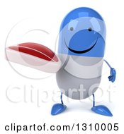 Clipart Of A 3d Happy Blue And White Pill Character Holding A Beef Steak Royalty Free Illustration