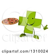 Clipart Of A 3d Happy Green Naturopathic Cross Character Shrugging And Holding A Pizza Royalty Free Illustration