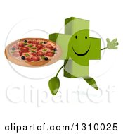 Clipart Of A 3d Happy Green Naturopathic Cross Character Facing Slightly Right Jumping And Holding A Pizza Royalty Free Illustration