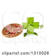 Clipart Of A 3d Unhappy Green Naturopathic Cross Character Holding Up A Thumb Down And A Pizza Royalty Free Illustration