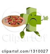 Clipart Of A 3d Unhappy Green Naturopathic Cross Character Facing Slightly Right Jumping And Holding A Pizza Royalty Free Illustration