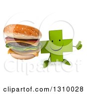 Clipart Of A 3d Happy Green Naturopathic Cross Character Holding Up A Thumb And A Double Cheeseburger Royalty Free Illustration