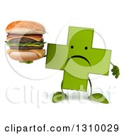 Clipart Of A 3d Unhappy Green Naturopathic Cross Character Holding A Double Cheeseburger Royalty Free Illustration