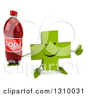 Clipart Of A 3d Happy Green Naturopathic Cross Character Holding Up A Thumb And Soda Bottle Royalty Free Illustration