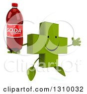 Clipart Of A 3d Happy Green Naturopathic Cross Character Facing Slightly Right Jumping And Holding A Soda Bottle Royalty Free Illustration