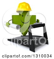 Clipart Of A 3d Happy Green Contractor Naturopathic Cross Character Facing Slightly Right Holding Plans And Running On A Treadmill Royalty Free Illustration
