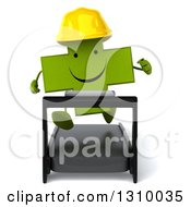 Clipart Of A 3d Happy Green Contractor Naturopathic Cross Character Running On A Treadmill Royalty Free Illustration
