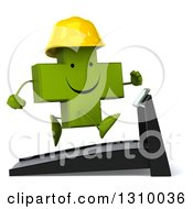 Clipart Of A 3d Happy Green Contractor Naturopathic Cross Character Facing Right And Running On A Treadmill Royalty Free Illustration
