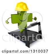 Clipart Of A 3d Happy Green Contractor Naturopathic Cross Character Facing Slightly Right And Running On A Treadmill Royalty Free Illustration
