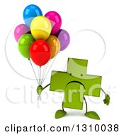 Clipart Of A 3d Unhappy Green Naturopathic Cross Character Holding Party Balloons Royalty Free Illustration
