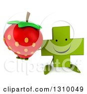 Clipart Of A 3d Happy Green Naturopathic Cross Character Holding Up A Strawberry Royalty Free Illustration