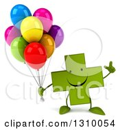 Clipart Of A 3d Happy Green Naturopathic Cross Character Holding Up A Finger And Party Balloons Royalty Free Illustration