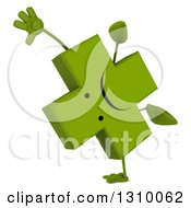 Clipart Of A 3d Unhappy Green Naturopathic Cross Character Cartwheeling Royalty Free Illustration