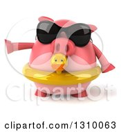 Clipart Of A 3d Chubby Pig Wearing Sunglasses And A Duck Inner Tube And Pointing To The Left Royalty Free Illustration