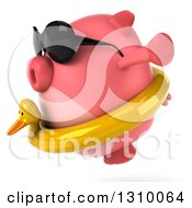 Clipart Of A 3d Chubby Pig Wearing Sunglasses And A Duck Inner Tube Facing Left And Jumping Royalty Free Illustration
