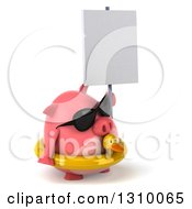Clipart Of A 3d Chubby Pig Wearing Sunglasses And A Duck Inner Tube Facing Right And Holding A Blank Sign Royalty Free Illustration