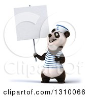 Clipart Of A 3d Happy Sailor Panda Holding And Pointing Up To A Blank Sign Royalty Free Illustration by Julos