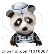 Clipart Of A 3d Happy Sailor Panda Pointing Down Over A Sign Royalty Free Illustration