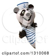 Clipart Of A 3d Happy Sailor Panda Giving A Thumb Up Around A Sign Royalty Free Illustration