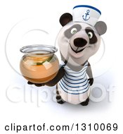 Clipart Of A 3d Happy Sailor Panda Holding Up A Honey Jar Royalty Free Illustration